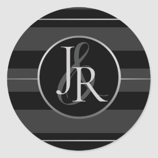 Black Tuxedo Stripe Silver Optional Monogram Classic Round Sticker