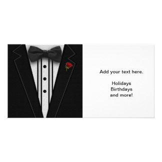 Black Tuxedo with Bow Tie Customized Photo Card