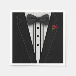 Black Tuxedo with Bow Tie Disposable Serviette