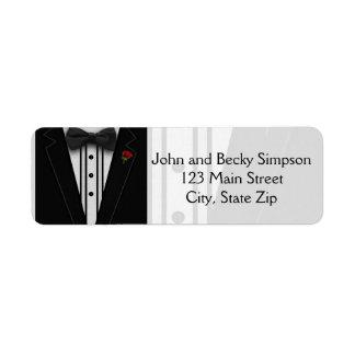 Black Tuxedo with Bow Tie Return Address Label