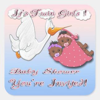 Black Twin Girls Baby Shower Envelope Seal Square Sticker