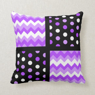 Black/Two-Tone Ultraviolet/White Chevron/Polkadot Cushion