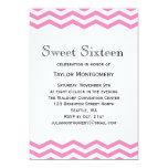 Black Type & Pink Chevron Sweet 16 Invitation