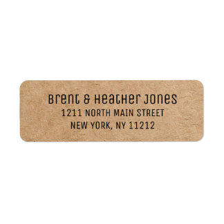 Black Typewriter Text and Recycled Paper Return Address Label