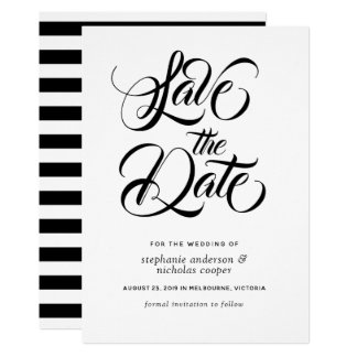 Black typography brush text save the date card
