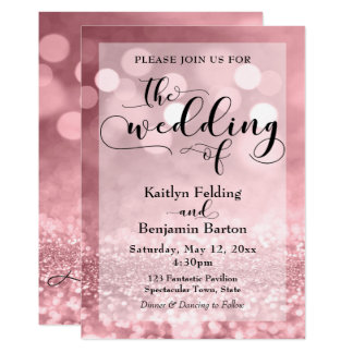 Black Typography & Rose Gold Glitter Bokeh Wedding Card
