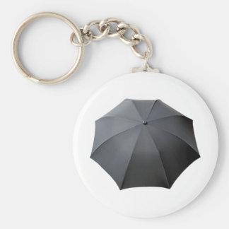 Black Umbrella Isolated Over White Background Basic Round Button Key Ring