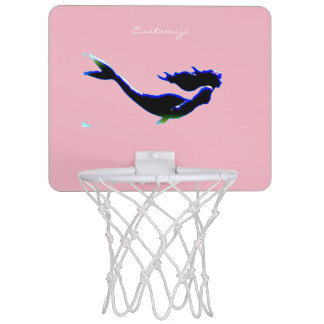 black undersea mermaid customized mini basketball hoop