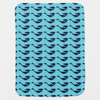 black underwater mermaids swimming blue baby blanket