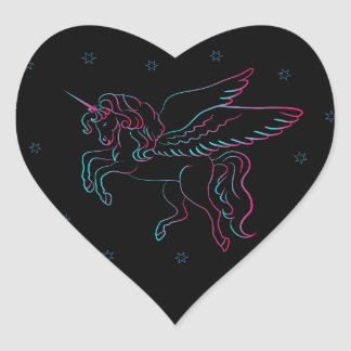 Black Unicorn Heart Sticker
