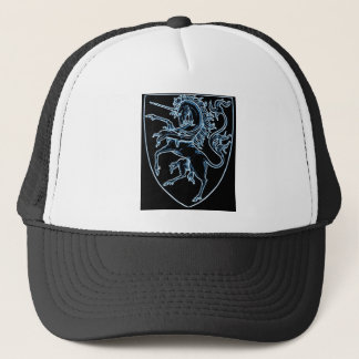black unicorn shield trucker hat