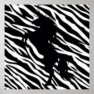 Black Unicorn Silhouette On Zebra Print Poster