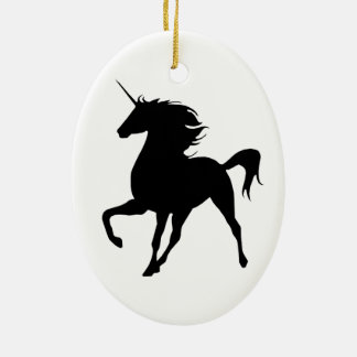 Black Unicorn Silhouette Oval Ornament