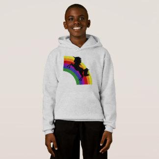 Black Unicorn Silhouette Rainbow Boys Hoodie