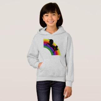 Black Unicorn Silhouette Rainbow  Girls' Hoodie