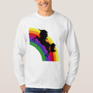 Black Unicorn Silhouette Rainbow Men's Long Sleeve T-Shirt