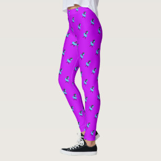 Black unicorn turquoise ballerina fuchsia leggings