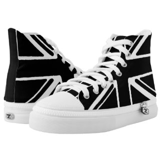 Black Union Jack High tops. Printed Shoes