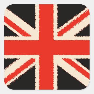 Black Union Jack (kind styles) Square Sticker