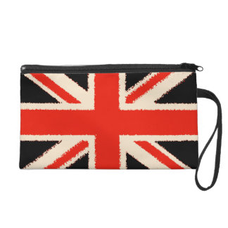 Black Union Jack Wristlet Clutch