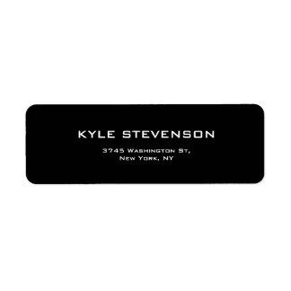Black Unique Creative Minimalist Plain Modern Return Address Label