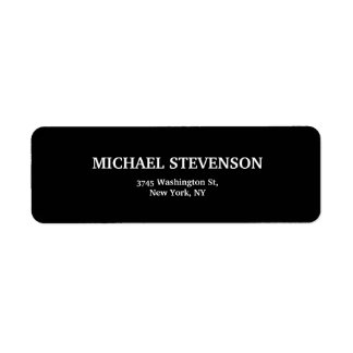 Black Unique Minimalist Plain Modern Return Address Label