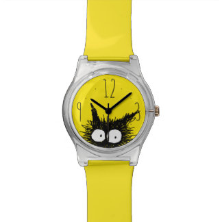 Black Unkempt Kitten GabiGabi Yellow Watch