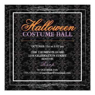 Black Velvet Damask & Lace Halloween Costume Ball 13 Cm X 13 Cm Square Invitation Card