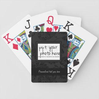Black Velvet Floral Ribbon Photo Template Deck Of Cards