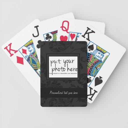 Black Velvet Floral & Ribbon Photo Template Deck Of Cards