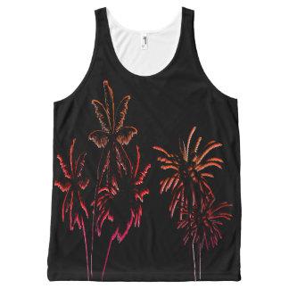 Black Velvet Neon Palm Tree Tropical Summer Night All-Over Print Singlet