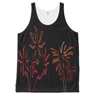 Black Velvet Neon Palm Tree Tropical Summer Night All-Over Print Tank Top