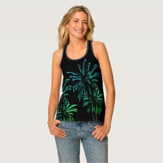 Black Velvet Neon Palm Tree Tropical Summer Night Singlet