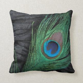 Black Velvet Peacock Feather Still Life Photograph Throw Pillows