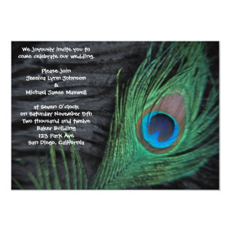 Black Velvet Peacock Wedding Invitation