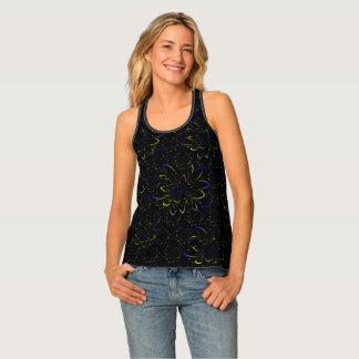 Black Velvet Tropical Flower Pattern Colors Summer Singlet