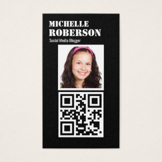 Black vertical qr code and photo business card