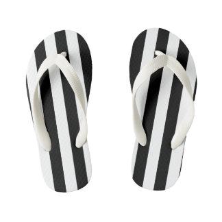 Black Vertical Stripes Kid's Thongs