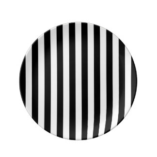 Black Vertical Stripes Plate