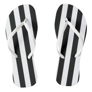 Black Vertical Stripes Thongs