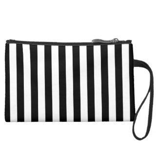 Black Vertical Stripes Wristlet Clutch