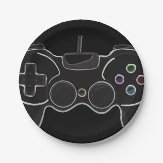Black Video Game Controller Gamer Birthday Party Paper Plate