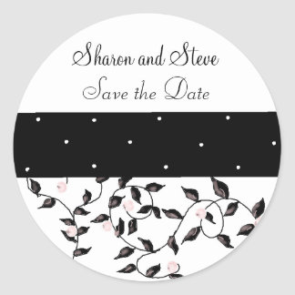 Black Vines Save the Date Round Sticker