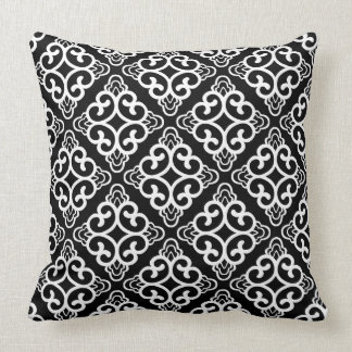 Black Vintage Chinese Square Floral Cushion