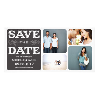 BLACK VINTAGE COLLAGE | SAVE THE DATE ANNOUNCEMENT PERSONALISED PHOTO CARD