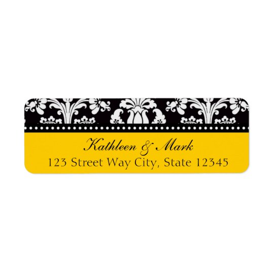 Black Vintage Damask Return Addess Label Return Address Label