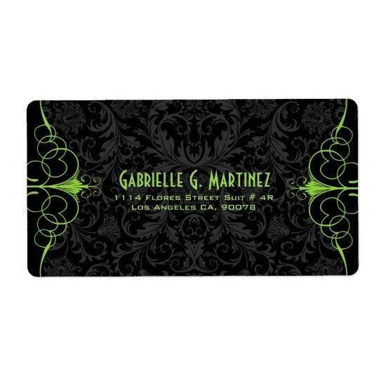 Black Vintage Damasks & Green Ornate Frame Shipping Label