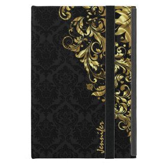 Black Vintage Damasks & Metallic Gold Floral Lace iPad Mini Cover