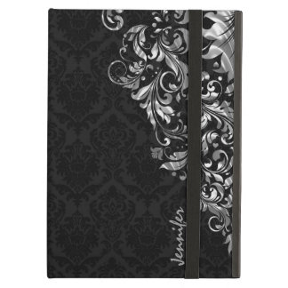 Black Vintage Damasks & Metallic Silve Floral Lace iPad Air Case