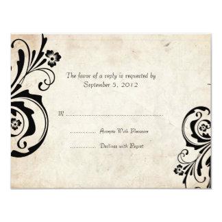 Black Vintage Floral Chic Wedding RSVP Card